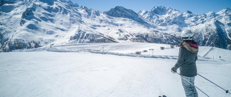 Skifahren auf Rosswald mit Panorama