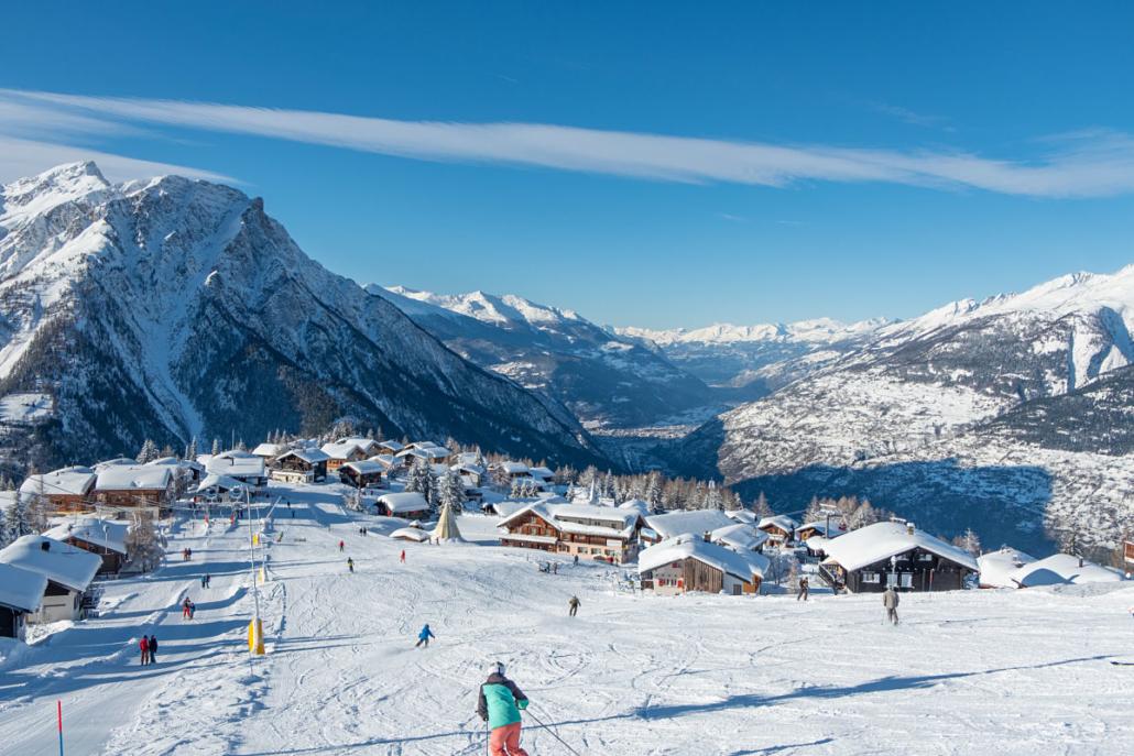 Skifahren auf Rosswald im Wallis